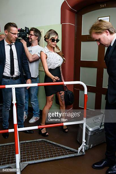 Christian Simonis GinaLisa Lohfink and Burkhard Benecken arrive for a court trial on June 27 2016 in Berlin Germany The 29yearold model was ordered...