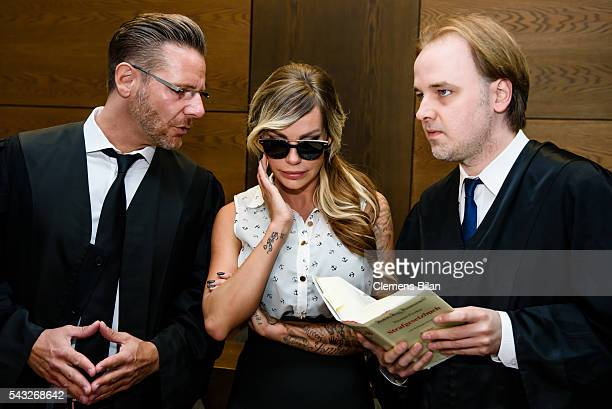 Christian Simonis GinaLisa Lohfink and Burkhard Benecken attend a court trial on June 27 2016 in Berlin Germany The 29yearold model was ordered to...