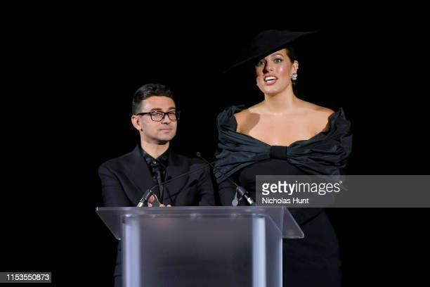 Christian Siriano and Ashley Graham speak onstage during the CFDA Fashion Awards at the Brooklyn Museum of Art on June 03 2019 in New York City