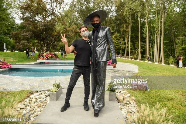 Christian Siriano and Billy Porter pose in the front row during the Christian Siriano Collection 37 2020 Fashion Show on September 17 2020 in...