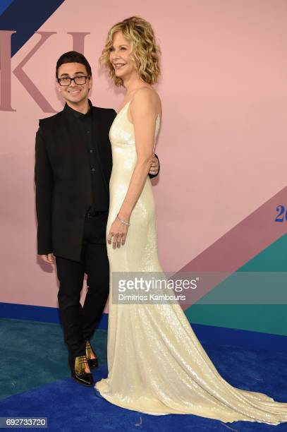 Christian Siriano and Meg Ryan attend the 2017 CFDA Fashion Awards at Hammerstein Ballroom on June 5 2017 in New York City