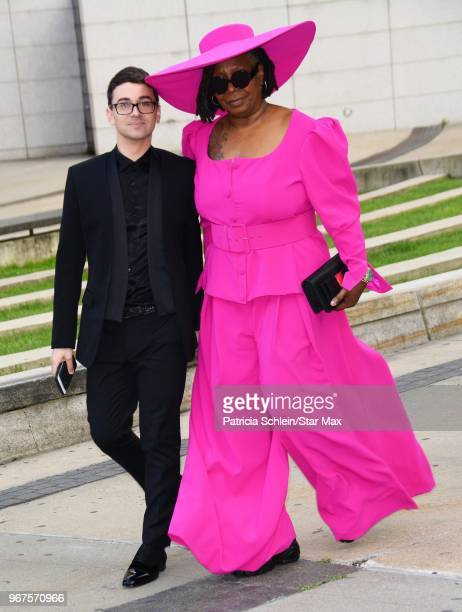 Christian Siriano and Whoopi Goldberg are seen on June 4, 2018 at the 2018 CFDA Fashion Awards in New York City.