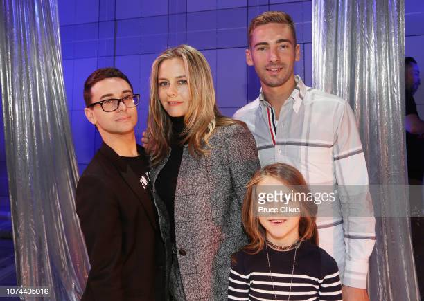 "Christian Siriano , boyfriend Kyle Smith Alicia Silverstone and son Bear Blu Jarecki pose backstage at The New Group production of ""Clueless, The..."