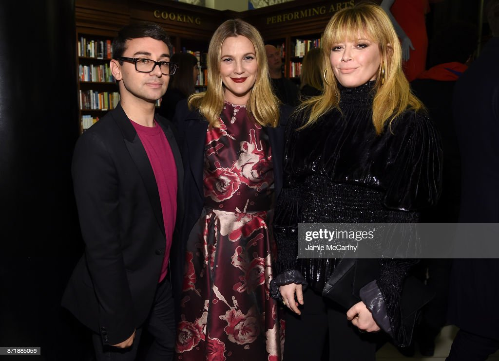 Christian Siriano, Drew Barrymore, and Natasha Lyonne celebrate the release of his book 'Dresses To Dream About' at the Rizzoli Flagship Store on November 8, 2017 in New York City.
