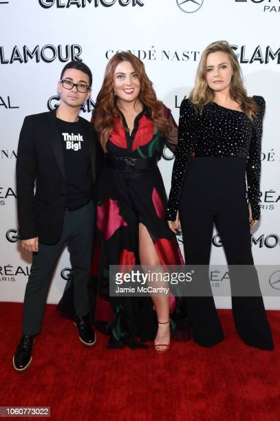 Christian Siriano Glamour EditorinChief Samantha Barry and Alicia Silverstone attend the 2018 Glamour Women Of The Year Awards Women Rise on November...
