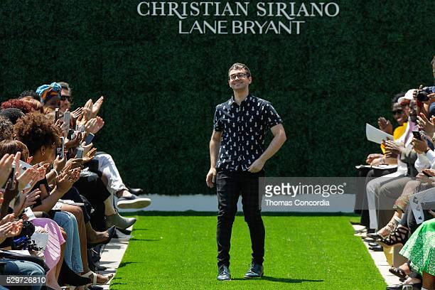 Christian Siriano greets the audience after presenting the Christian Siriano x Lane Bryant Runway Show at United Nations on May 9 2016 in New York...