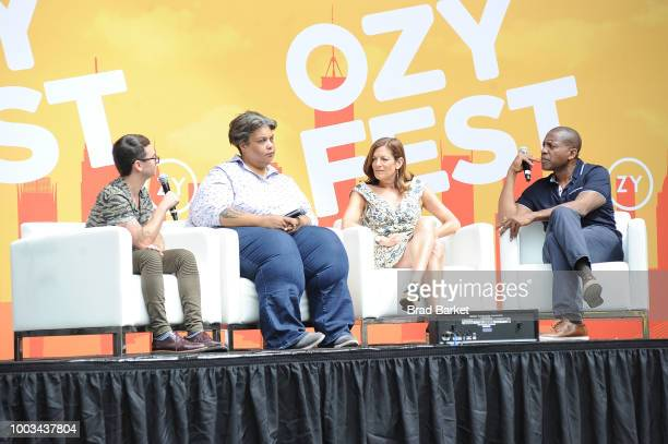 Christian Siriano Roxane Gay and Isaac Mizrahi speak onstage during OZY Fest 2018 at Rumsey Playfield Central Park on July 21 2018 in New York City