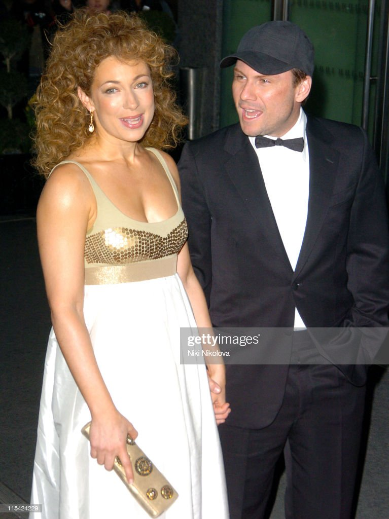Christian Slater and Alex Kingston during 2006 Laurence Olivier Awards - Arrivals at London Hilton in London, United Kingdom.
