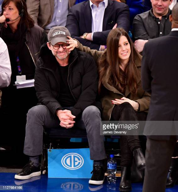 Christian Slater and Brittany Lopez attend Orlando Magic v New York Knicks game at Madison Square Garden on February 26, 2019 in New York City.