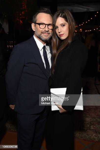 Christian Slater and Brittany Lopez attend the 2018 GQ Men of the Year Party at a private residence on December 6, 2018 in Beverly Hills, California.