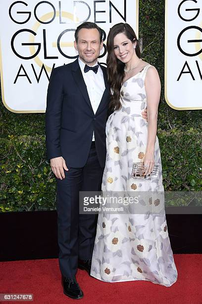 Christian Slater and Brittany Lopez attend the 74th Annual Golden Globe Awards at The Beverly Hilton Hotel on January 8, 2017 in Beverly Hills,...