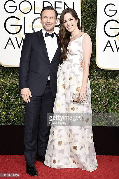 Christian Slater and Brittany Lopez attend the 74th Annual Golden Globe Awards - Arrivals at The Beverly Hilton Hotel on January 8, 2017 in Beverly...