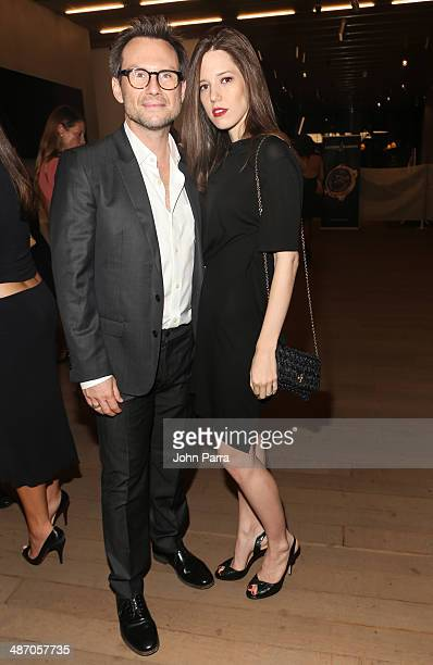 Christian Slater and Brittany Lopez attend the Haute Living Miami Haute 100 Dinner Presented By Dom Perignon And Jade Signature at PAMM Art Museum on...