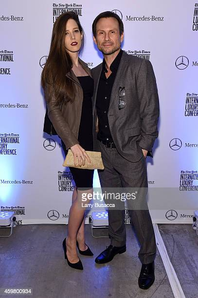 Christian Slater and Brittany Lopez attend the Speaker Dinner presented by Mercedes-Benz during The New York Times International Luxury Conference at...