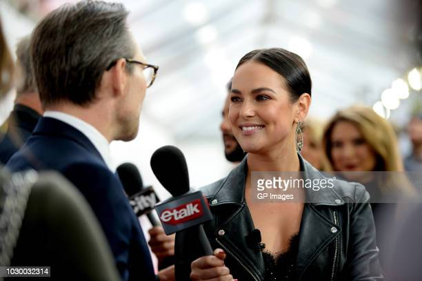 Christian Slater and CTV etalk host Chloe Wilde attend the The Public premiere during 2018 Toronto International Film Festival at Roy Thomson Hall on...