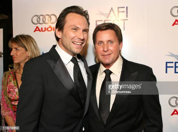 Christian Slater and Emilio Estevez during The Weinstein Company Hosts Black Tie Opening Night Gala and US Premiere of Emilio Estevez's 'Bobby' at...