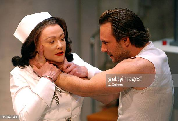 Christian Slater and Frances Barber during One Flew Over The Cuckoo's Nest Photocall at Gielgud Theatre in London Great Britain
