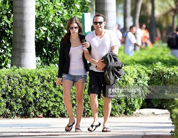 Christian Slater and his girlfriend Brittany Lopez are seen on March 18 2012 in Miami Florida