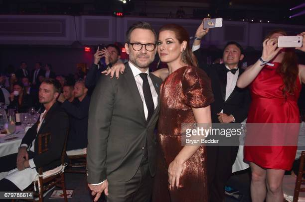Christian Slater and honoree Debra Messing attend 28th Annual GLAAD Media Awards at The Hilton Midtown on May 6 2017 in New York City