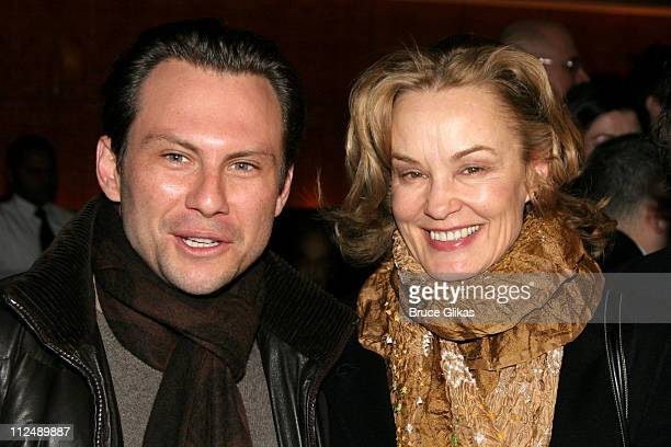 Christian Slater and Jessica Lange during 'The Glass Menagerie' Opening Night on Broadway at Ethel Barrymore Theatre Bryant Park Grill in New York...