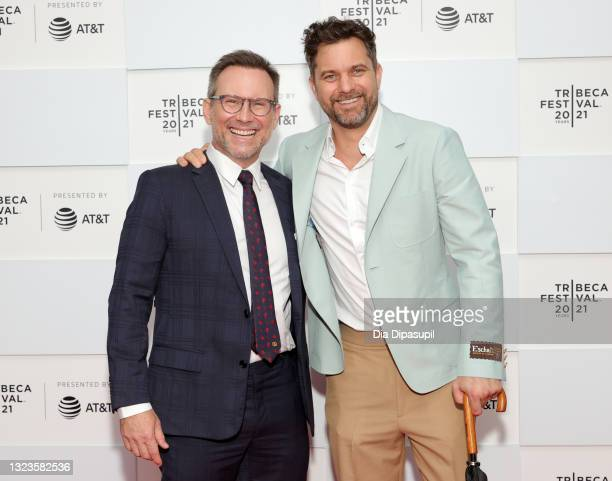 """Christian Slater and Joshua Jackson attend 2021 Tribeca Festival Premiere of """"Dr. Death"""" at Pier 76 on June 14, 2021 in New York City."""
