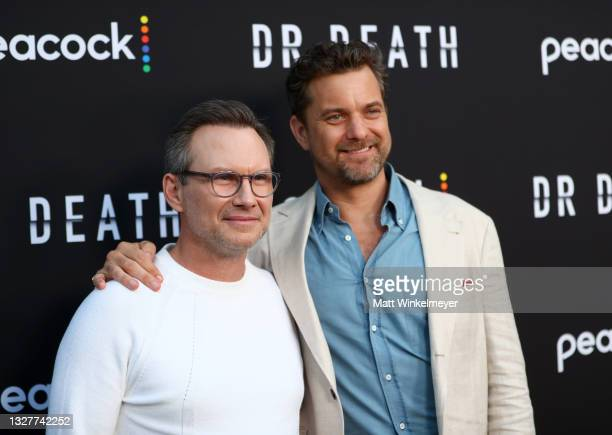 """Christian Slater and Joshua Jackson attends the pre-screening reception for the premiere of Peacock's new series """"Dr. Death"""" at NeueHouse Los Angeles..."""