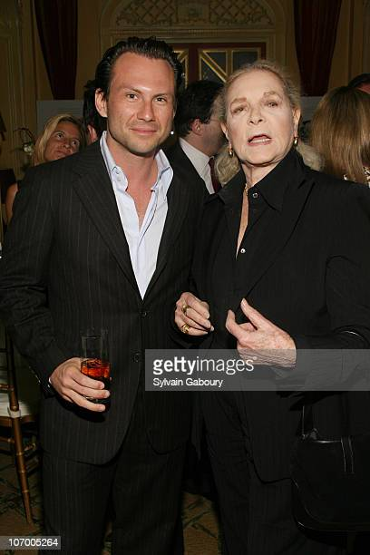 Christian Slater and Lauren Bacall during Harvey Weinstein Hosts a Private Dinner and Screening of Bobby for Senators Obama and Schumer at Plaza...