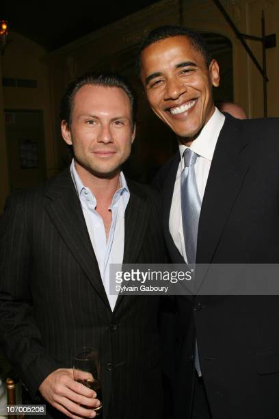 Christian Slater and Senator Obama during Harvey Weinstein Hosts a Private Dinner and Screening of Bobby for Senators Obama and Schumer at Plaza...