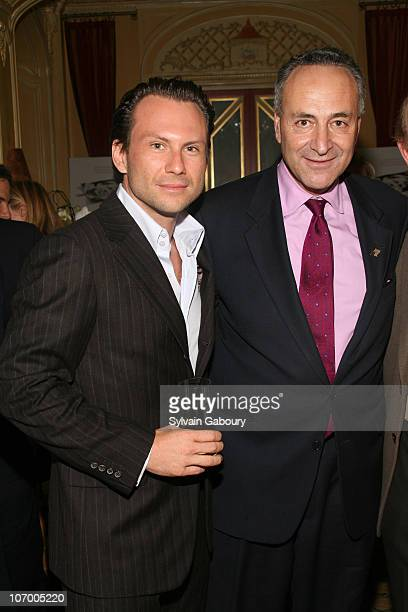 Christian Slater and Senator Schumer during Harvey Weinstein Hosts a Private Dinner and Screening of Bobby for Senators Obama and Schumer at Plaza...