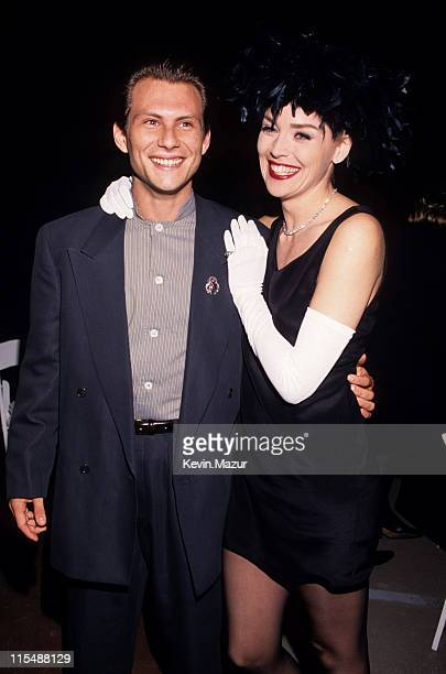 Christian Slater and Sharon Stone during 2nd Annual MTV Movie Awards at Disney Studios in Burbank California United States
