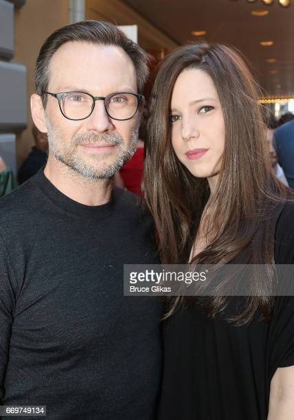"""Christian Slater and wife Brittany Lopez pose at the opening night of the new musical based on the film """"Groundhog Day"""" on Broadway at The August..."""