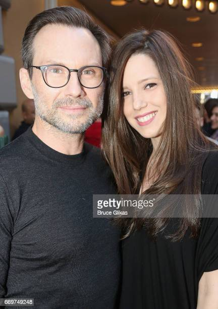 Christian Slater and wife Brittany Lopez pose at the opening night of the new musical based on the film Groundhog Day on Broadway at The August...