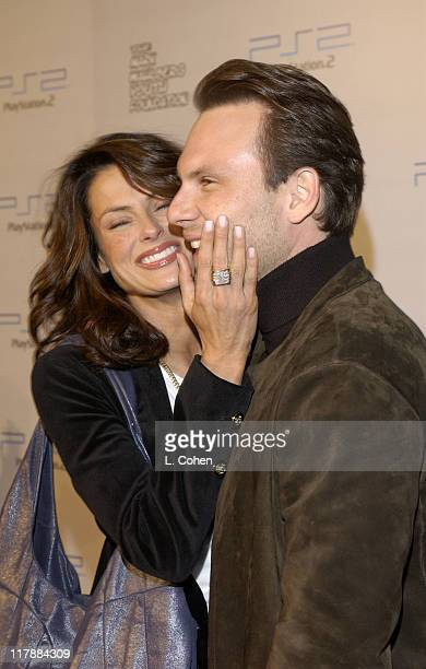 Christian Slater and wife Ryan Haddon during Play Station 2 and Mark Wahlberg Host Celebrity Gaming Tournament for Charity Arrivals at Club Ivar in...