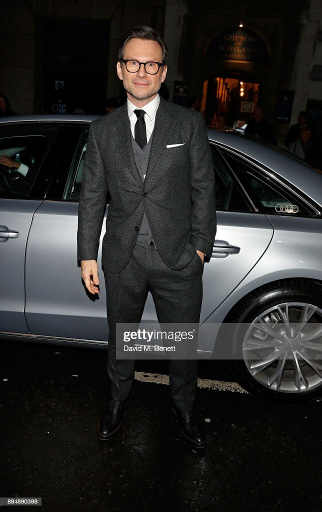 Christian Slater arrives in an Audi at the Evening Standard Theatre Awards at Theatre Royal on December 3, 2017 in London, England.