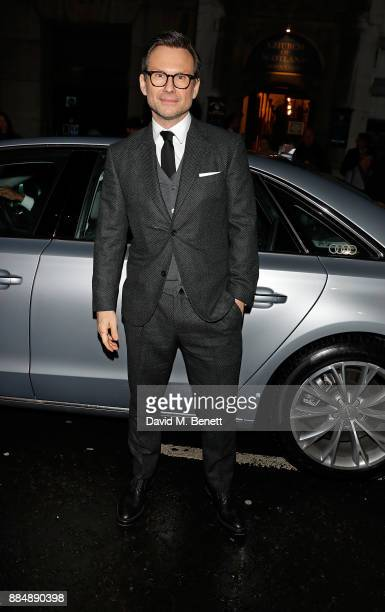 Christian Slater arrives in an Audi at the Evening Standard Theatre Awards at Theatre Royal on December 3 2017 in London England