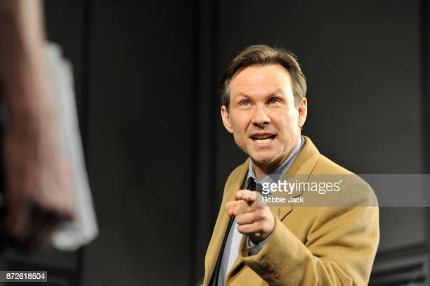 Christian Slater as Richard 'Ricky' Roma in David Mamet's Glengarry Glenross directed by Sam Yates at the Playhouse Theatre on October 31 2017 in...