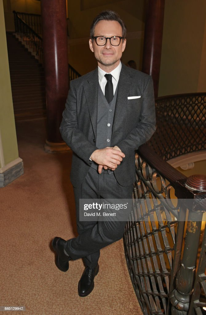 Christian Slater attends a drinks reception ahead of the London Evening Standard Theatre Awards 2017 at the Theatre Royal, Drury Lane, on December 3, 2017 in London, England.
