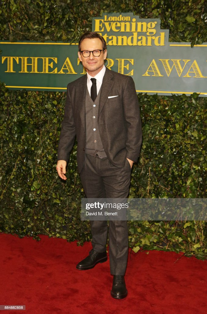 Christian Slater attends the London Evening Standard Theatre Awards 2017 at the Theatre Royal, Drury Lane, on December 3, 2017 in London, England.