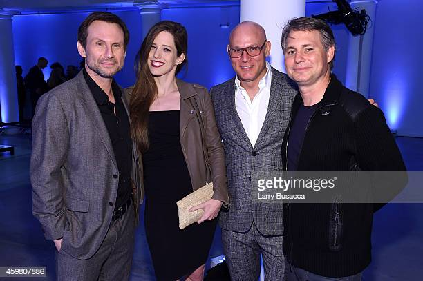 Christian Slater Brittany Lopez a guest and Jason Binn attend the Speaker Dinner presented by MercedesBenz during The New York Times International...