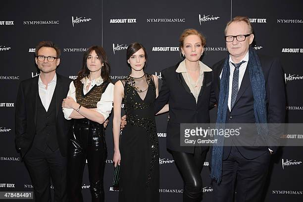 Christian Slater Charlotte Gainsbourg Stacy Martin Uma Thurman and Stellan Skarsgard attend the 'Nymphomaniac Volume I' screening at The Museum of...