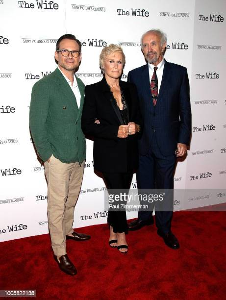 Christian Slater Glenn Close and Jonathan Pryce attend The Wife New York Screening at The Paley Center for Media on July 26 2018 in New York City