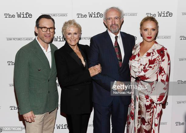 Christian Slater Glenn Close Jonathan Pryce and Annie Starke attend the New York Screening of 'The Wife' at The Paley Center for Media on July 26...