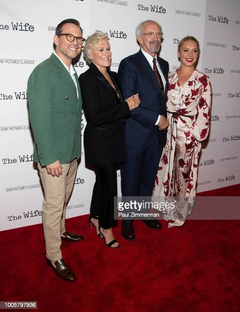 Christian Slater Glenn Close Jonathan Pryce and Annie Starke attend The Wife New York Screening at The Paley Center for Media on July 26 2018 in New...