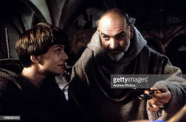 Christian Slater is approached by Sean Connery in a scene from the film 'The Name Of The Rose' 1986