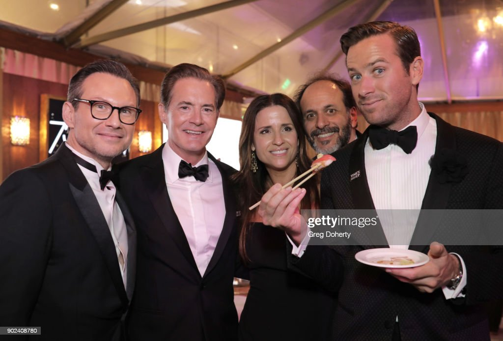 Christian Slater, Kyle MacLachlan, Desiree Gruber, Luca Guadagnino and Armie Hammer attend the Official Viewing and After Party of The Golden Globe Awards bosted by The Hollywood Foreign Press Association on January 7, 2018 in Beverly Hills, California.