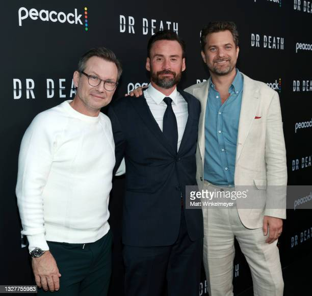 """Christian Slater, Patrick Macmanus and Joshua Jackson attends the pre-screening reception for the premiere of Peacock's new series """"Dr. Death"""" at..."""