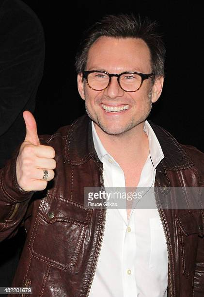 Christian Slater poses backstage at the new musical Heathers at New World Stages on April 2 2014 in New York City