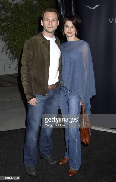 Christian Slater & wife Ryan Haddon during Vertu Client Suite Opening at Vertu in Beverly Hills, California, United States.