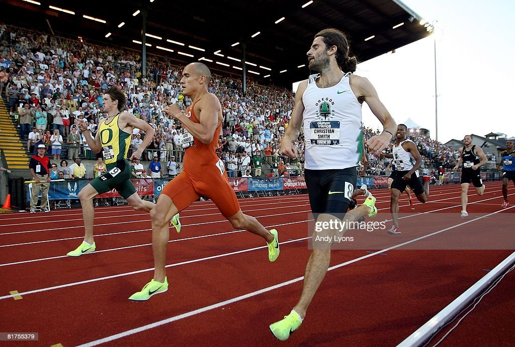 Christian Smith (R) and Jacob Hernandez (C) and Andrew Wheating (L) compete in the men's 800 meter run during day one of the U.S. Track and Field Olympic Trials at Hayward Field on June 27, 2008 in Eugene, Oregon.
