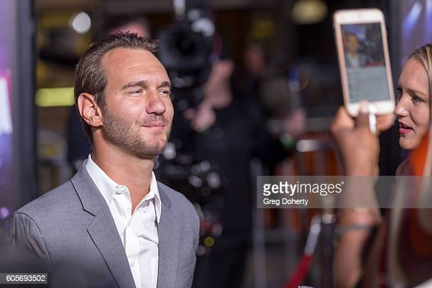 Christian Speaker Nick Vujicic attends the Premiere Of Pure Flix Entertainment's 'Hillsong Let Hope Rise' at the Mann Village Theatre on September 13...